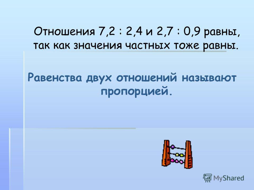 Отношения 7,2 : 2,4 и 2,7 : 0,9 равны, так как значения частных тоже равны. Равенства двух отношений называют пропорцией.