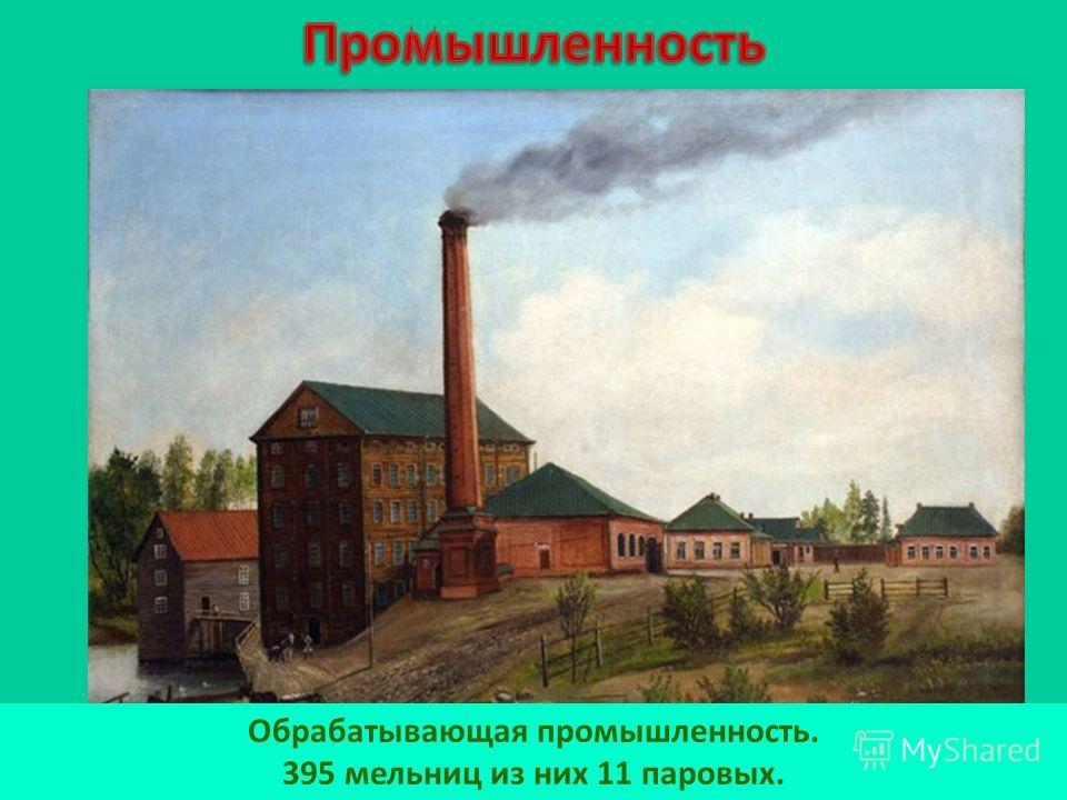 Обрабатывающая промышленность. 395 мельниц из них 11 паровых.