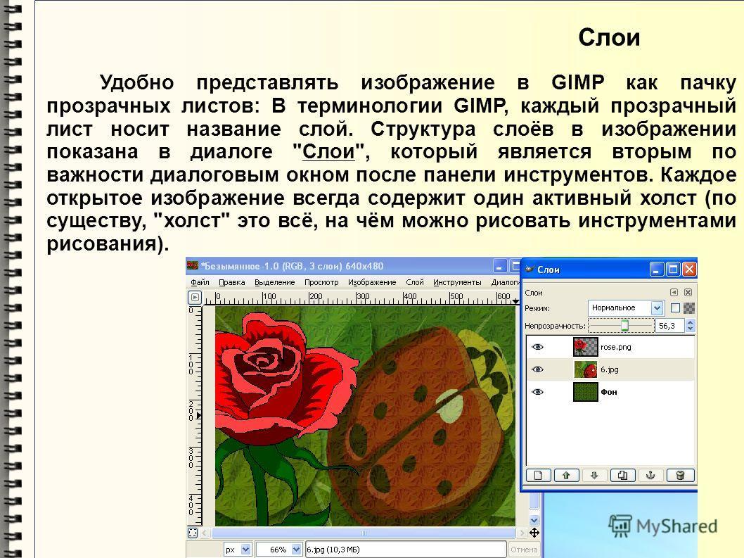 Удобно представлять изображение в GIMP как пачку прозрачных листов: В терминологии GIMP, каждый прозрачный лист носит название слой. Структура слоёв в изображении показана в диалоге
