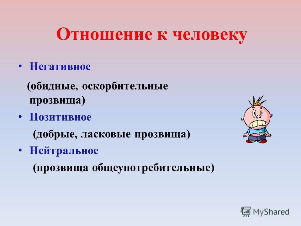 Отношение к человеку Негативное (обидные, оскорбительные прозвища) Позитивное (добрые, ласковые прозвища) Нейтральное (прозвища общеупотребительные)