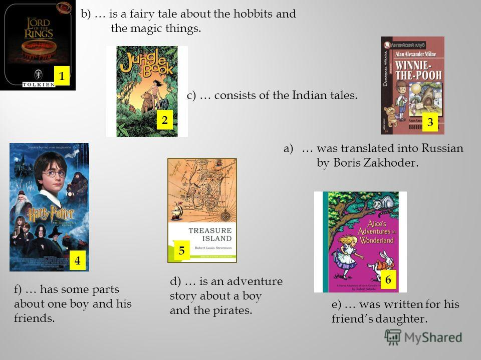 a)… was translated into Russian by Boris Zakhoder. 1 2 3 4 5 6 b) … is a fairy tale about the hobbits and the magic things. c) … consists of the Indian tales. d) … is an adventure story about a boy and the pirates. e) … was written for his friends da