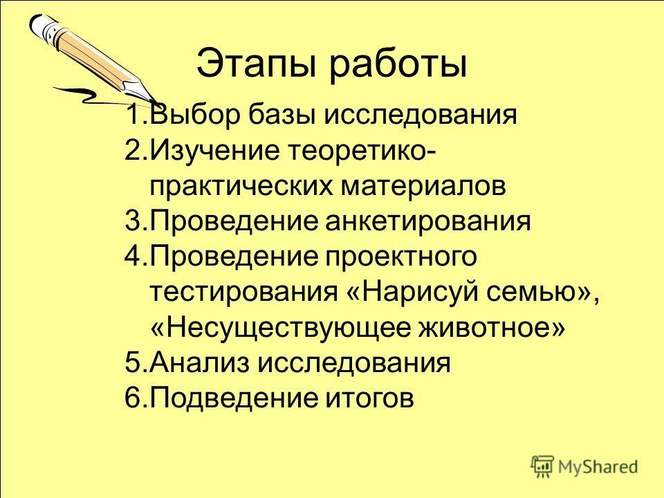 Этапы работы 1.Выбор базы исследования 2.Изучение теоретико- практических материалов 3.Проведение анкетирования 4.Проведение проектного тестирования «Нарисуй семью», «Несуществующее животное» 5.Анализ исследования 6.Подведение итогов