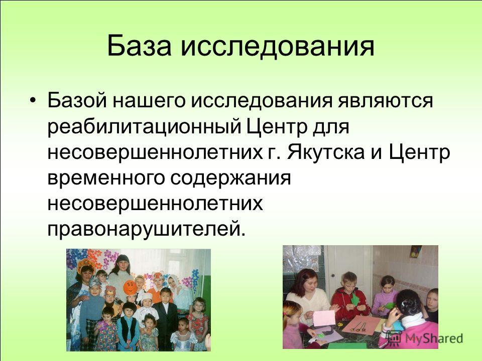База исследования Базой нашего исследования являются реабилитационный Центр для несовершеннолетних г. Якутска и Центр временного содержания несовершеннолетних правонарушителей.
