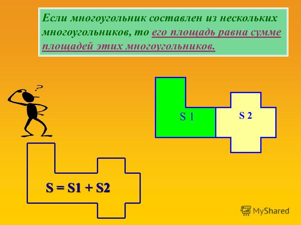 S 2 S 1 S = S1 + S2 Если многоугольник составлен из нескольких многоугольников, то его площадь равна сумме площадей этих многоугольников.