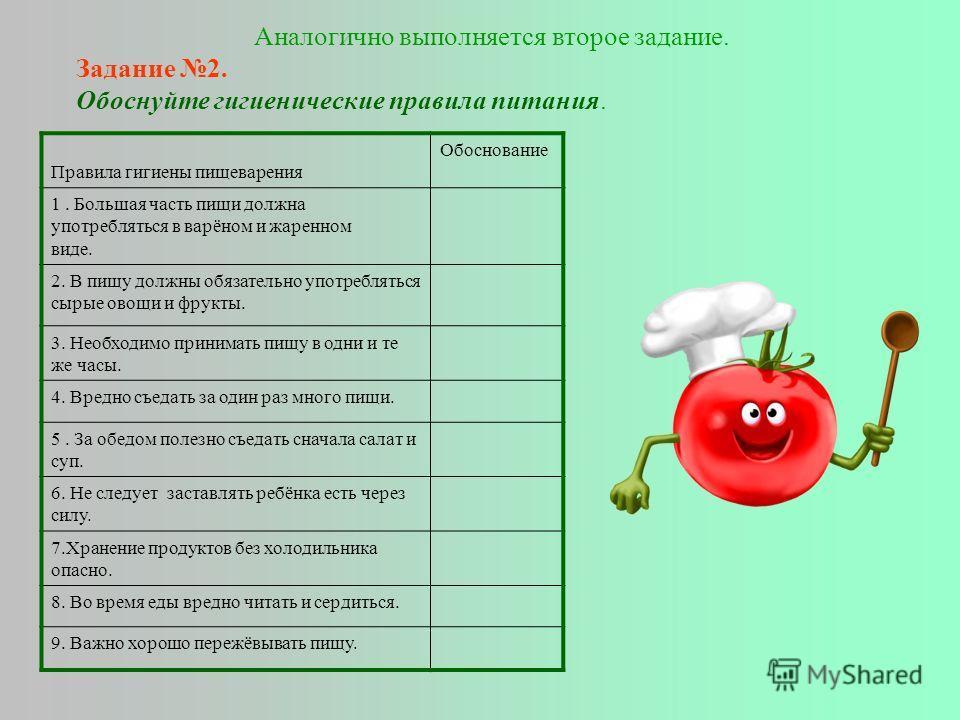 Аналогично выполняется второе задание. Задание 2. Обоснуйте гигиенические правила питания. Правила гигиены пищеварения Обоснование 1. Большая часть пищи должна употребляться в варёном и жаренном виде. 2. В пищу должны обязательно употребляться сырые