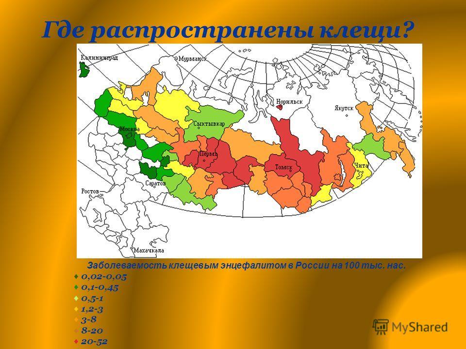 Где распространены клещи? Заболеваемость клещевым энцефалитом в России на 100 тыс. нас. 0,02-0,05 0,1-0,45 0,5-1 1,2-3 3-8 8-20 20-52