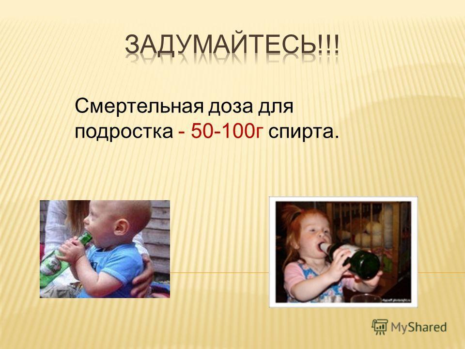 Смертельная доза для подростка - 50-100г спирта.