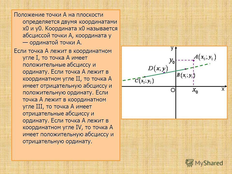 Положение точки A на плоскости определяется двумя координатами x0 и y0. Координата x0 называется абсциссой точки A, координата y ординатой точки A. Если точка A лежит в координатном угле I, то точка A имеет положительные абсциссу и ординату. Если точ