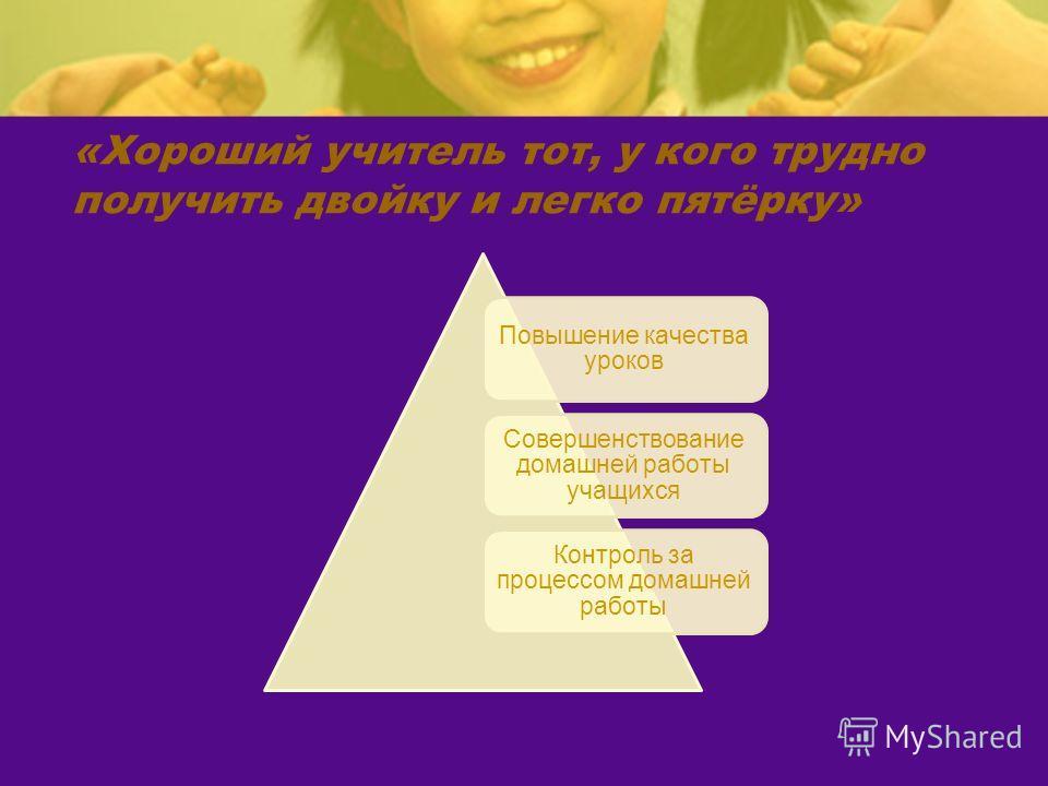 «Хороший учитель тот, у кого трудно получить двойку и легко пятёрку» Повышение качества уроков Совершенствование домашней работы учащихся Контроль за процессом домашней работы