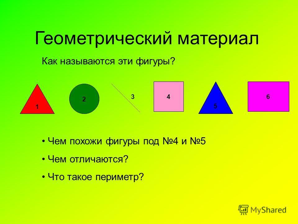 Геометрический материал Как называются эти фигуры? 1 2 64 5 3 Чем похожи фигуры под 4 и 5 Чем отличаются? Что такое периметр?