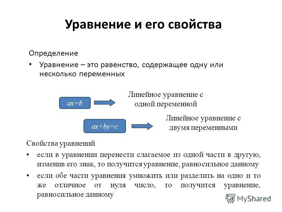 Определение Уравнение – это равенство, содержащее одну или несколько переменных Линейное уравнение с одной переменной Линейное уравнение с двумя переменными Свойства уравнений если в уравнении перенести слагаемое из одной части в другую, изменив его