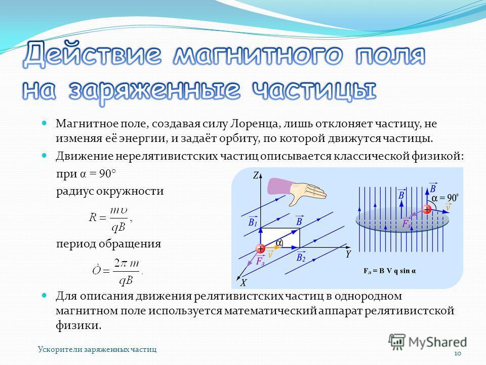 Магнитное поле, создавая силу Лоренца, лишь отклоняет частицу, не изменяя её энергии, и задаёт орбиту, по которой движутся частицы. Движение нерелятивистских частиц описывается классической физикой: при α = 90° радиус окружности период обращения Для