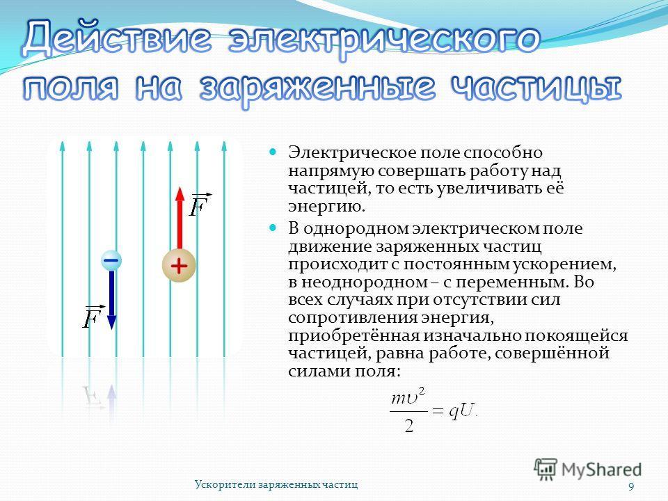Электрическое поле способно напрямую совершать работу над частицей, то есть увеличивать её энергию. В однородном электрическом поле движение заряженных частиц происходит с постоянным ускорением, в неоднородном – с переменным. Во всех случаях при отсу
