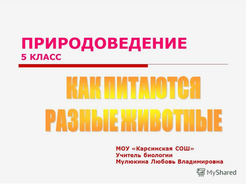 ПРИРОДОВЕДЕНИЕ 5 КЛАСС МОУ «Карсинская СОШ» Учитель биологии Мулюкина Любовь Владимировна