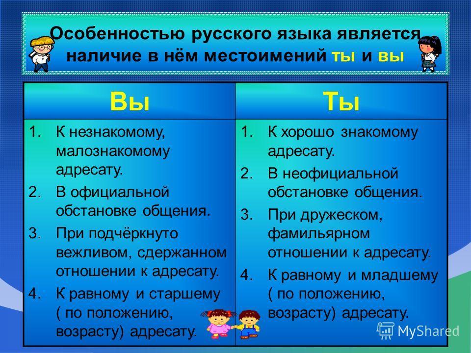 Особенностью русского языка является наличие в нём местоимений ты и вы ВыТы 1.К незнакомому, малознакомому адресату. 2.В официальной обстановке общения. 3.При подчёркнуто вежливом, сдержанном отношении к адресату. 4.К равному и старшему ( по положени