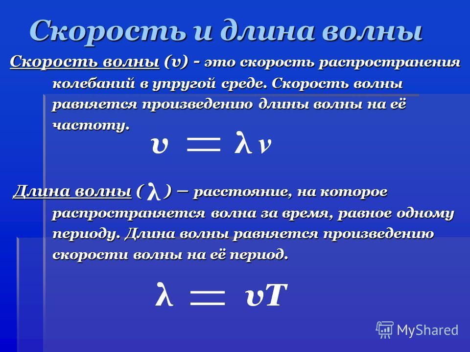 Скорость и длина волны Скорость волны (v) - это скорость распространения Скорость волны (v) - это скорость распространения колебаний в упругой среде. Скорость волны колебаний в упругой среде. Скорость волны равняется произведению длины волны на её ра