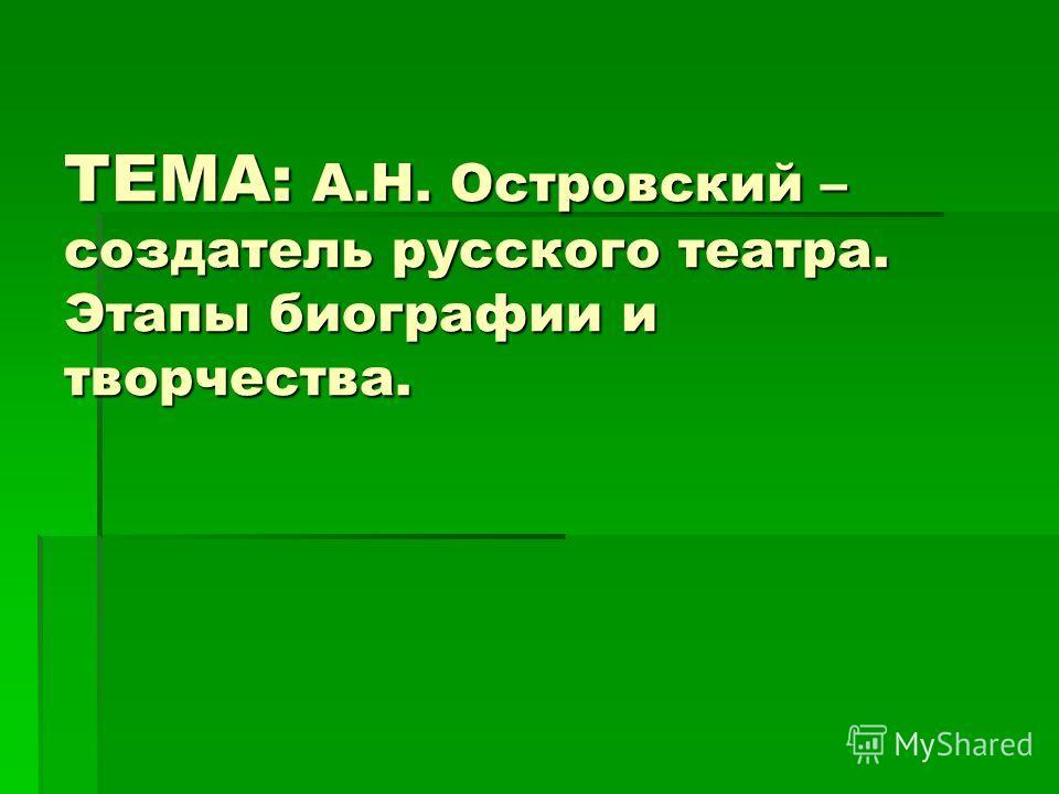 ТЕМА: А.Н. Островский – создатель русского театра. Этапы биографии и творчества.
