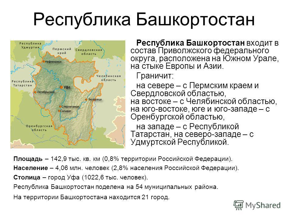 Республика Башкортостан Площадь – 142,9 тыс. кв. км (0,8% территории Российской Федерации). Население – 4,06 млн. человек (2,8% населения Российской Федерации). Столица – город Уфа (1022,6 тыс. человек). Республика Башкортостан поделена на 54 муницип