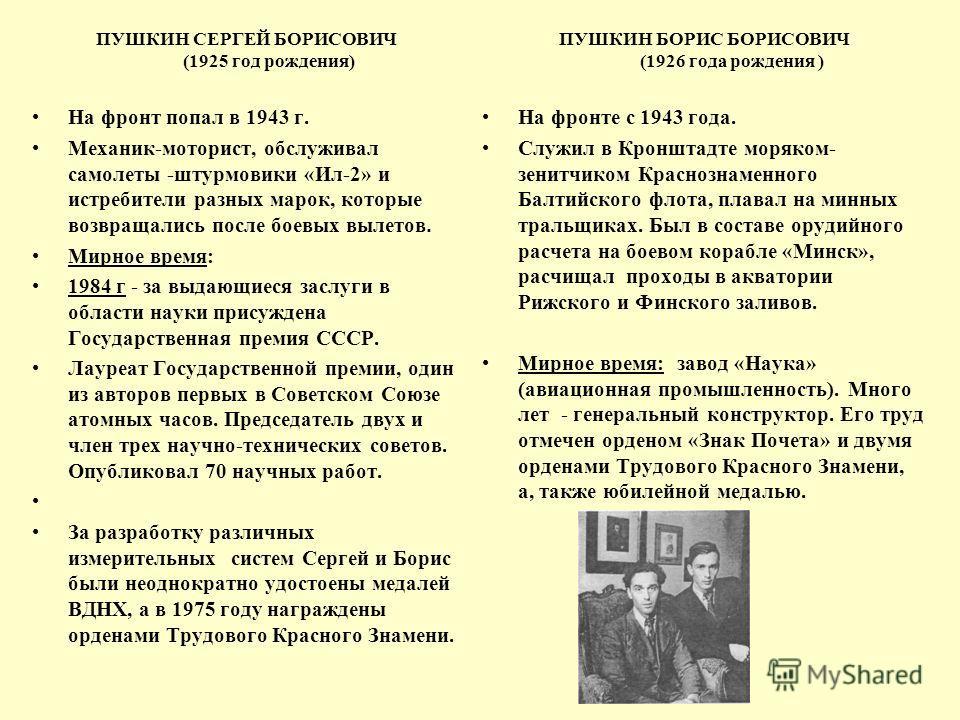 ПУШКИН СЕРГЕЙ БОРИСОВИЧ (1925 год рождения) На фронт попал в 1943 г. Механик-моторист, обслуживал самолеты -штурмовики «Ил-2» и истребители разных марок, которые возвращались после боевых вылетов. Мирное время: 1984 г - за выдающиеся заслуги в област