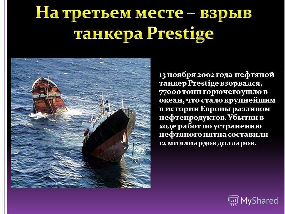 13 ноября 2002 года нефтяной танкер Prestige взорвался, 77000 тонн горючего ушло в океан, что стало крупнейшим в истории Европы разливом нефтепродуктов. Убытки в ходе работ по устранению нефтяного пятна составили 12 миллиардов долларов.