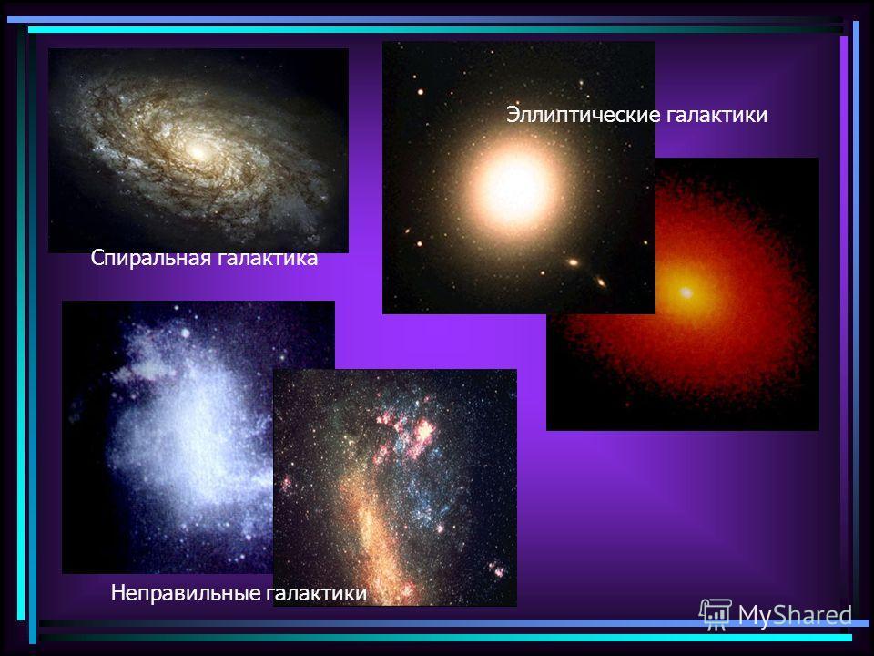 Спиральная галактика Неправильные галактики Эллиптические галактики