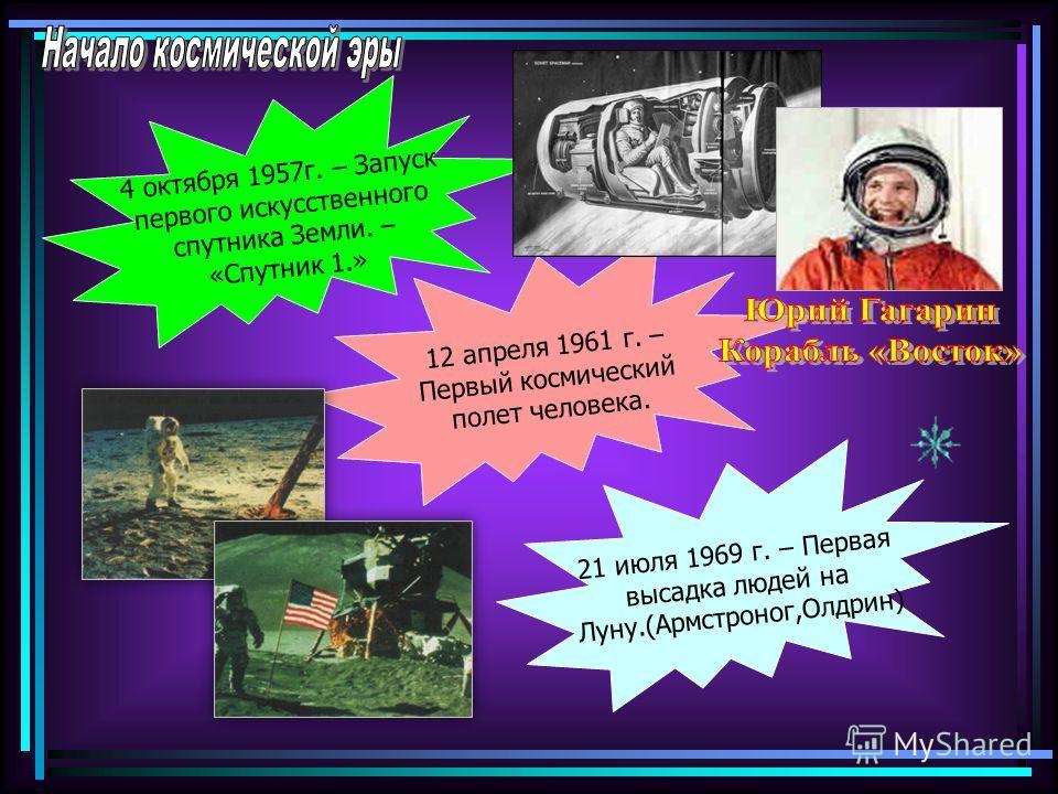 4 октября 1957г. – Запуск первого искусственного спутника Земли. – «Спутник 1.» 12 апреля 1961 г. – Первый космический полет человека. 21 июля 1969 г. – Первая высадка людей на Луну.(Армстроног,Олдрин)