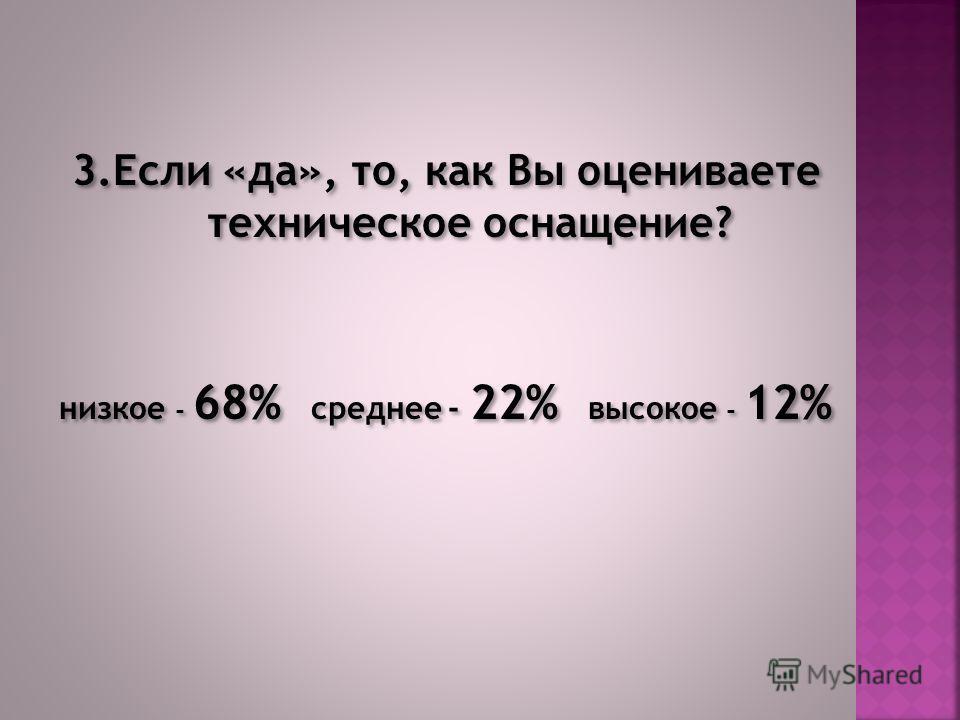 3.Если «да», то, как Вы оцениваете техническое оснащение? низкое - 68% среднее - 22% высокое - 12% 3.Если «да», то, как Вы оцениваете техническое оснащение? низкое - 68% среднее - 22% высокое - 12%