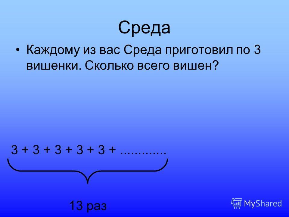 Среда Каждому из вас Среда приготовил по 3 вишенки. Сколько всего вишен? 3 + 3 + 3 + 3 + 3 +............. 13 раз