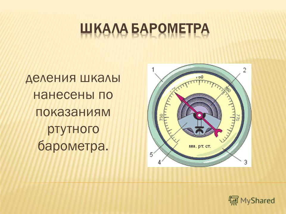 деления шкалы нанесены по показаниям ртутного барометра.