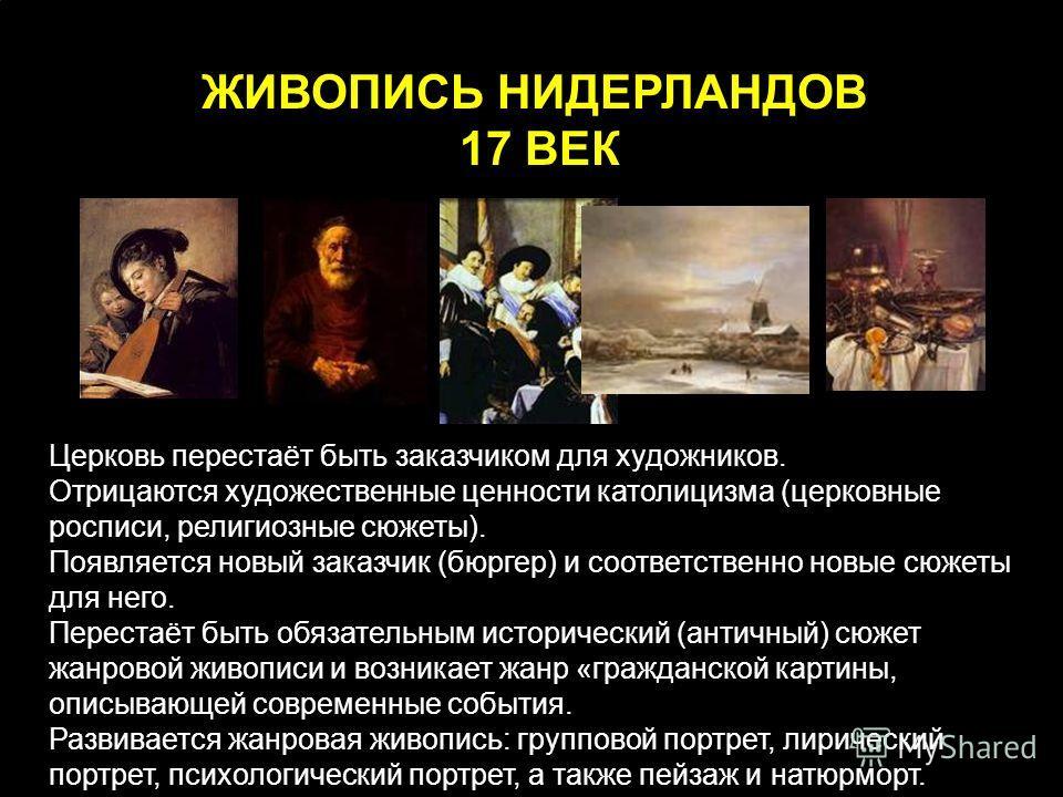 Церковь перестаёт быть заказчиком для художников. Отрицаются художественные ценности католицизма (церковные росписи, религиозные сюжеты). Появляется новый заказчик (бюргер) и соответственно новые сюжеты для него. Перестаёт быть обязательным историчес