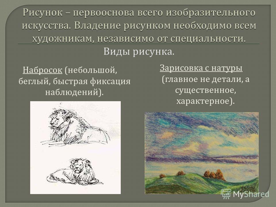 Набросок ( небольшой, беглый, быстрая фиксация наблюдений ). Зарисовка с натуры ( главное не детали, а существенное, характерное ).