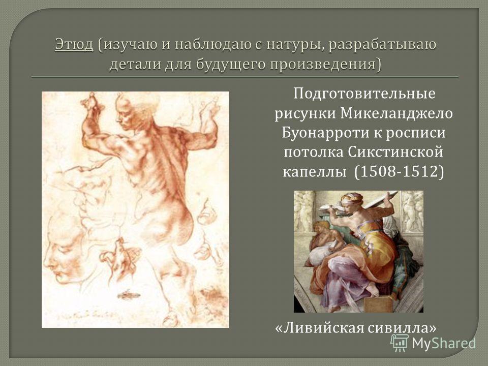Подготовительные рисунки Микеланджело Буонарроти к росписи потолка Сикстинской капеллы (1508-1512) « Ливийская сивилла »