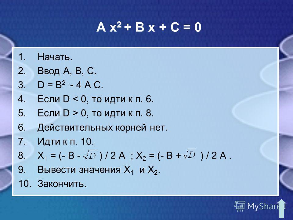 A x 2 + B x + C = 0 1.Начать. 2.Ввод A, B, C. 3.D = B 2 - 4 A C. 4.Если D < 0, то идти к п. 6. 5.Если D > 0, то идти к п. 8. 6.Действительных корней нет. 7.Идти к п. 10. 8.X 1 = (- B - ) / 2 A ; X 2 = (- B + ) / 2 A. 9.Вывести значения X 1 и X 2. 10.