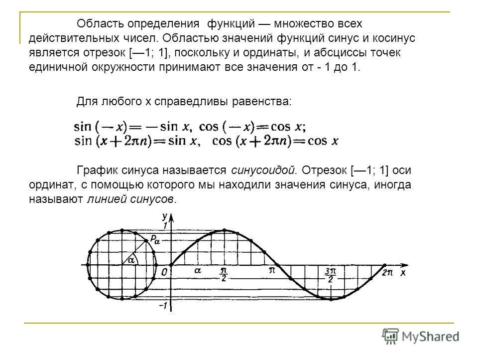 Область определения функций множество всех действительных чисел. Областью значений функций синус и косинус является отрезок [1; 1], поскольку и ординаты, и абсциссы точек единичной окружности принимают все значения от - 1 до 1. Для любого х справедли
