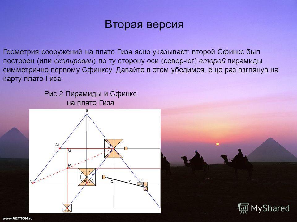 Вторая версия Геометрия сооружений на плато Гиза ясно указывает: второй Сфинкс был построен (или скопирован) по ту сторону оси (север-юг) второй пирамиды симметрично первому Сфинксу. Давайте в этом убедимся, еще раз взглянув на карту плато Гиза: Рис.