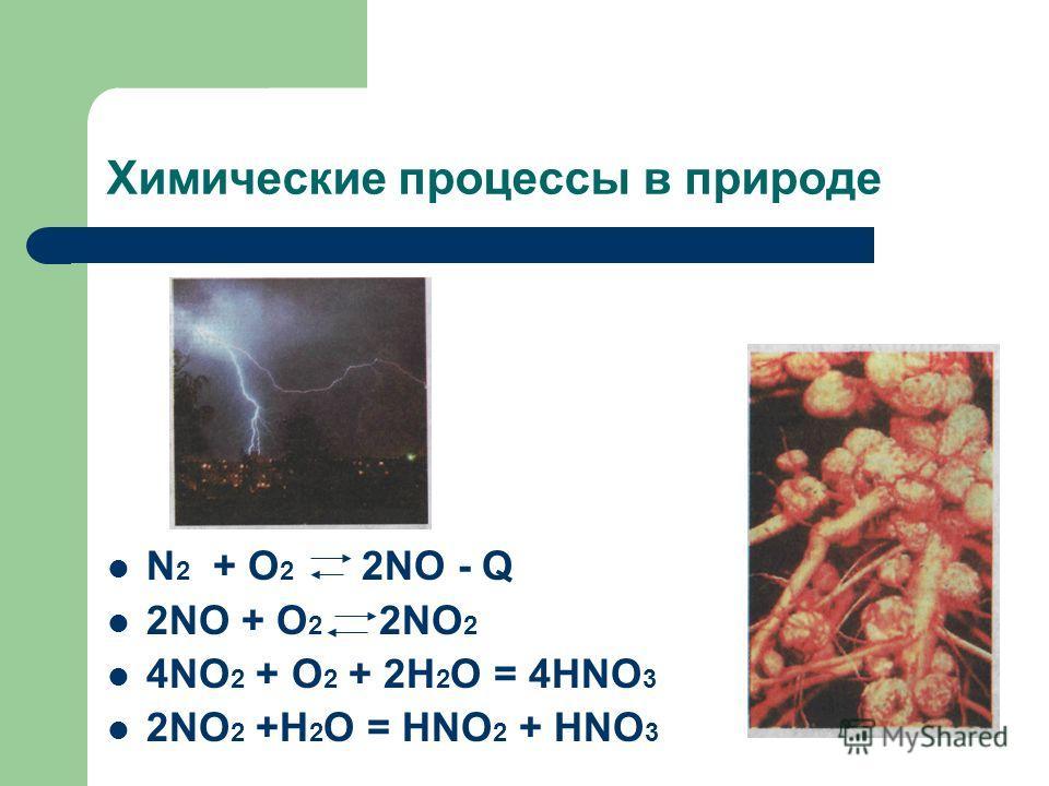 Химические процессы в природе N 2 + O 2 2NO - Q 2NO + O 2 2NO 2 4NO 2 + O 2 + 2H 2 O = 4HNO 3 2NO 2 +H 2 O = HNO 2 + HNO 3