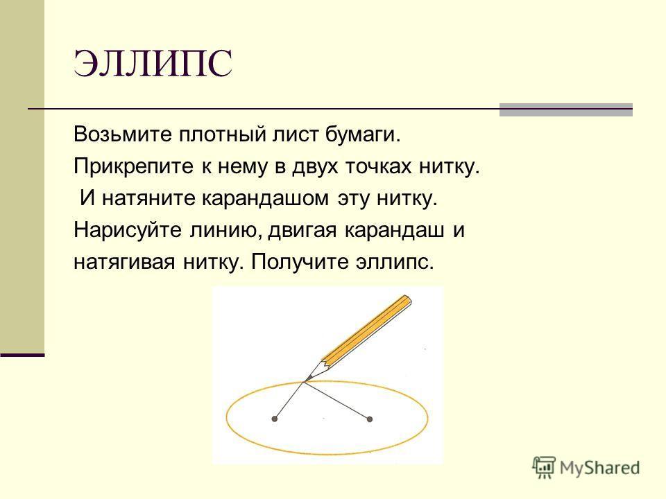 ЭЛЛИПС Возьмите плотный лист бумаги. Прикрепите к нему в двух точках нитку. И натяните карандашом эту нитку. Нарисуйте линию, двигая карандаш и натягивая нитку. Получите эллипс.