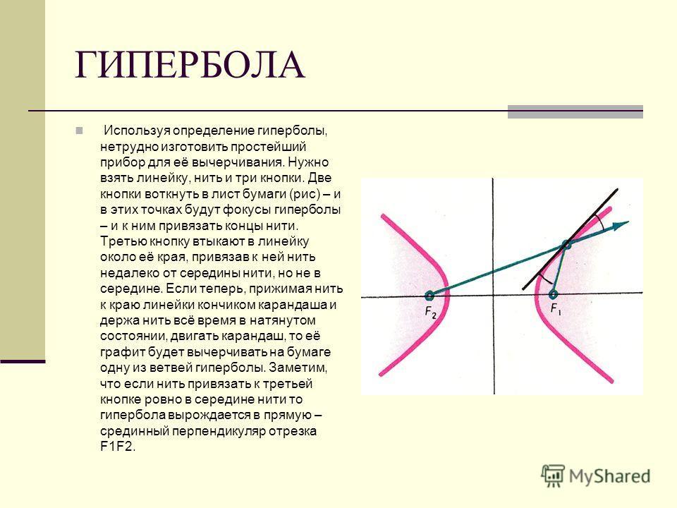 ГИПЕРБОЛА Используя определение гиперболы, нетрудно изготовить простейший прибор для её вычерчивания. Нужно взять линейку, нить и три кнопки. Две кнопки воткнуть в лист бумаги (рис) – и в этих точках будут фокусы гиперболы – и к ним привязать концы н