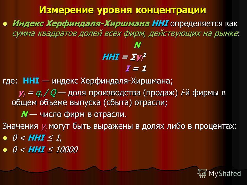 Измерение уровня концентрации Индекс Херфиндаля-Хиршмана HHI определяется как сумма квадратов долей всех фирм, действующих на рынке: Индекс Херфиндаля-Хиршмана HHI определяется как сумма квадратов долей всех фирм, действующих на рынке: N HHI = y i 2