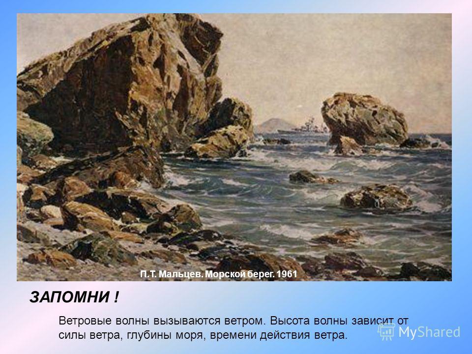 П.Т. Мальцев. Морской берег. 1961 ЗАПОМНИ ! Ветровые волны вызываются ветром. Высота волны зависит от силы ветра, глубины моря, времени действия ветра.