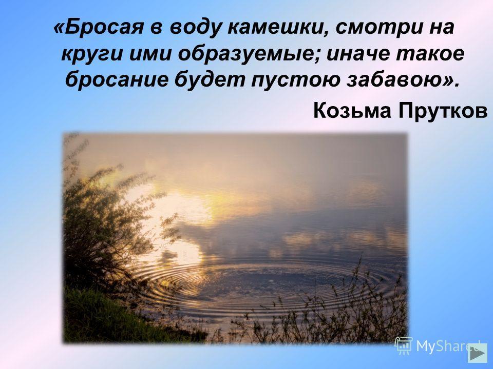 «Бросая в воду камешки, смотри на круги ими образуемые; иначе такое бросание будет пустою забавою». Козьма Прутков