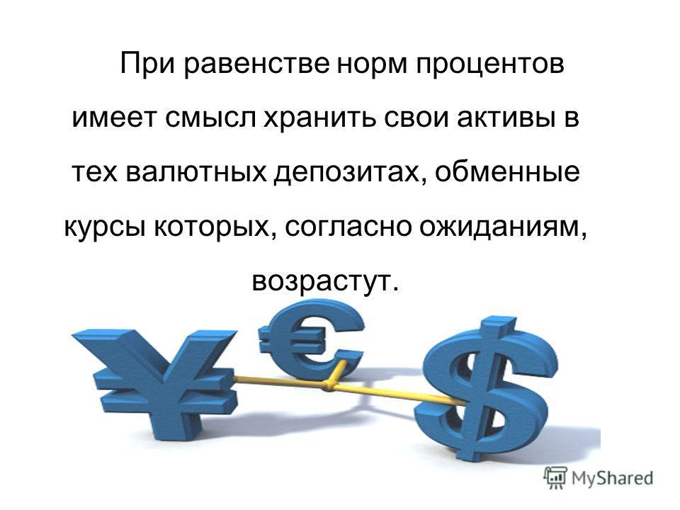 При равенстве норм процентов имеет смысл хранить свои активы в тех валютных депозитах, обменные курсы которых, согласно ожиданиям, возрастут.