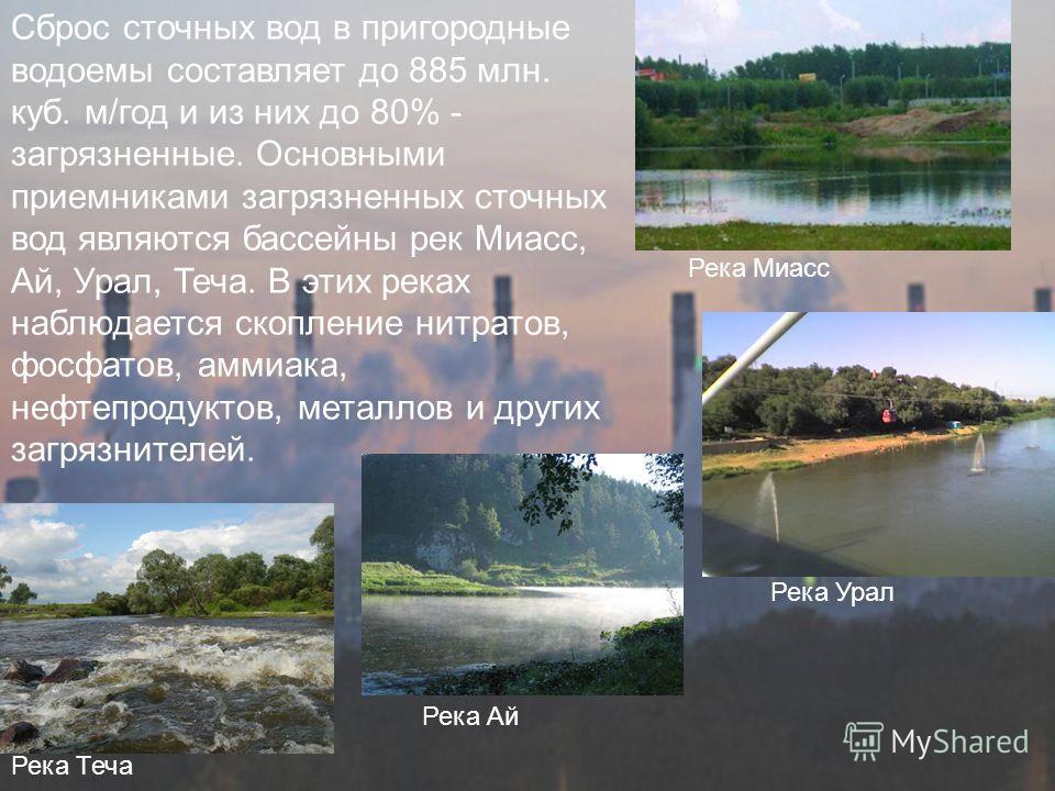 Сброс сточных вод в пригородные водоемы составляет до 885 млн. куб. м/год и из них до 80% - загрязненные. Основными приемниками загрязненных сточных вод являются бассейны рек Миасс, Ай, Урал, Теча. В этих реках наблюдается скопление нитратов, фосфато