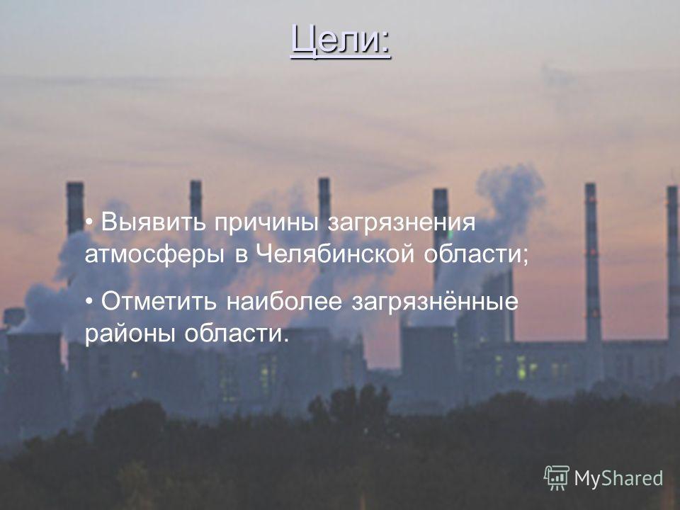 Цели: Выявить причины загрязнения атмосферы в Челябинской области; Отметить наиболее загрязнённые районы области.