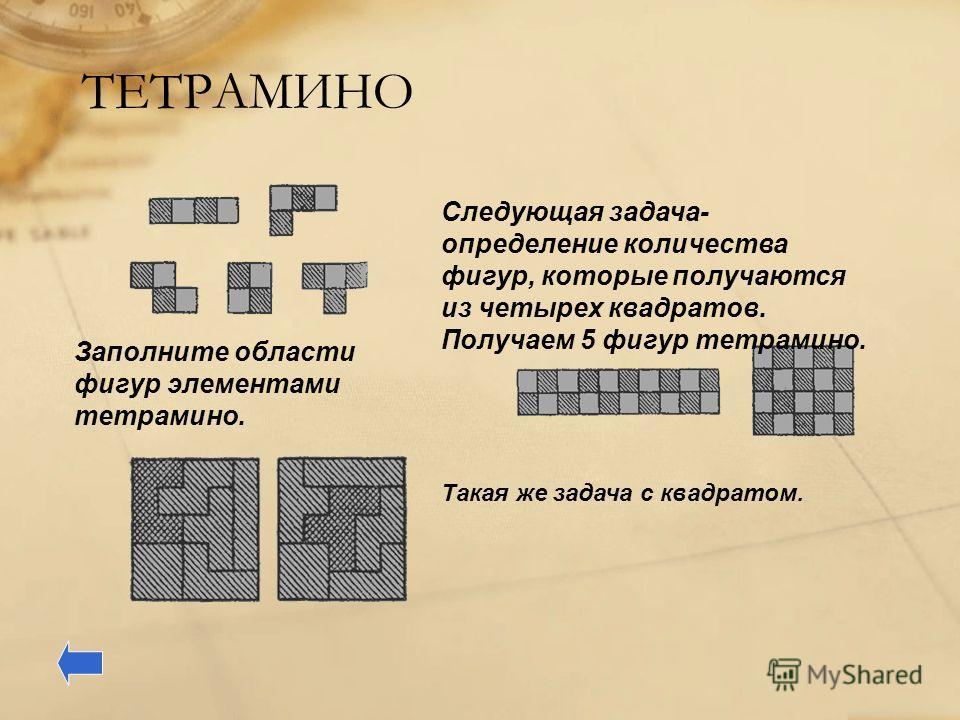 ТЕТРАМИНО Следующая задача- определение количества фигур, которые получаются из четырех квадратов. Получаем 5 фигур тетрамино. Заполните области фигур элементами тетрамино. Такая же задача с квадратом.