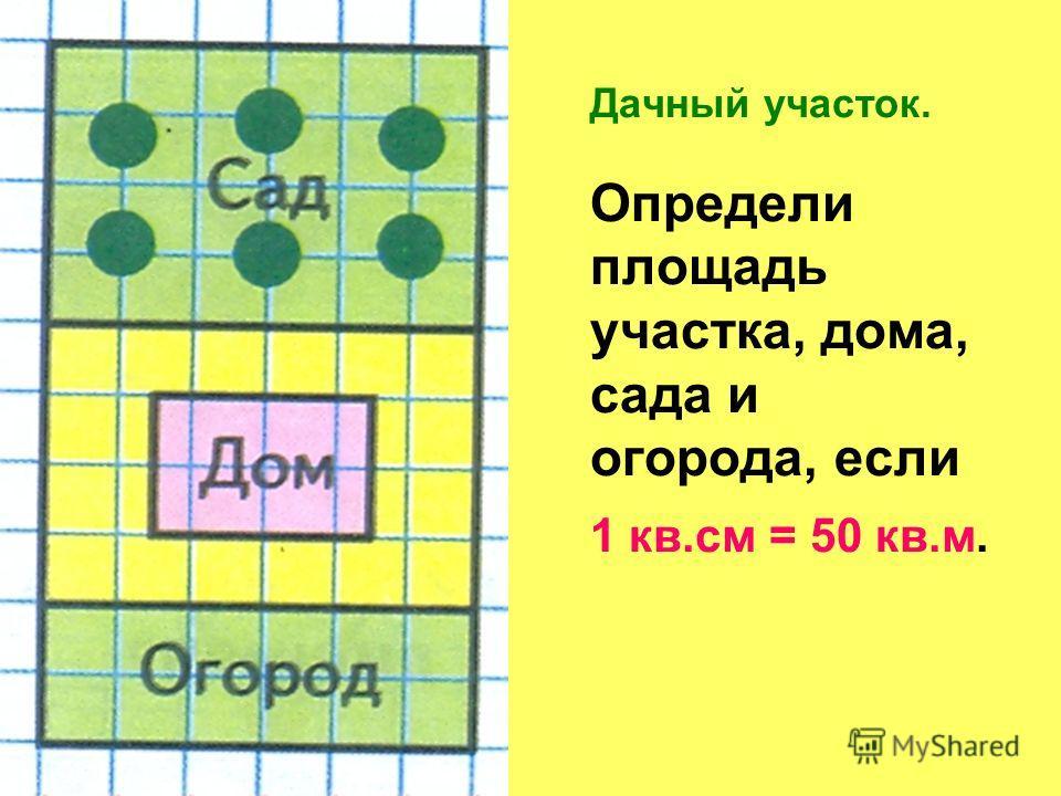 Дачный участок. Определи площадь участка, дома, сада и огорода, если 1 кв.см = 50 кв.м.
