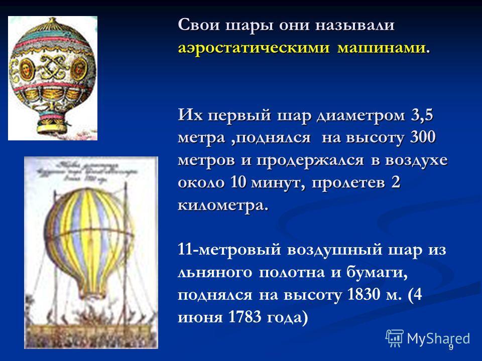 9 Свои шары они называли аэростатическими машинами. Их первый шар диаметром 3,5 метра,поднялся на высоту 300 метров и продержался в воздухе около 10 минут, пролетев 2 километра. Свои шары они называли аэростатическими машинами. Их первый шар диаметро