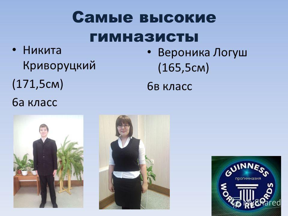 Самые высокие гимназисты Никита Криворуцкий (171,5см) 6а класс Вероника Логуш (165,5см) 6в класс
