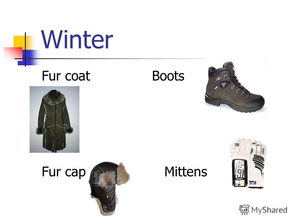 Fur coat Boots Fur cap Mittens Winter