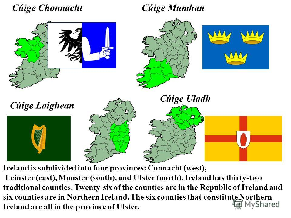 Cúige Chonnacht Cúige Laighean Cúige Mumhan Cúige Uladh Ireland is subdivided into four provinces: Connacht (west), Leinster (east), Munster (south), and Ulster (north). Ireland has thirty-two traditional counties. Twenty-six of the counties are in t